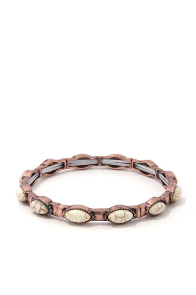 METAL OVAL SHAPE STRETCH BRACELET
