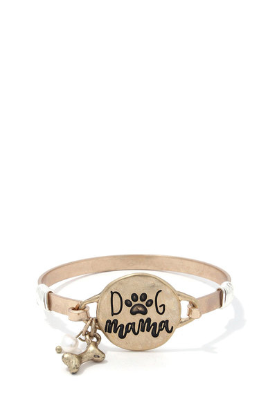 DOG MOM BONE CHARM METAL BRACELET