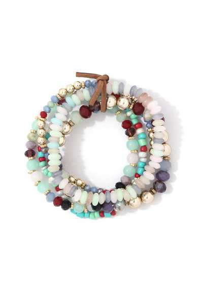 MULTI COLOR BEAD BRACELET SET