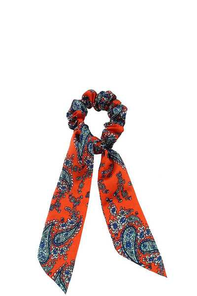 PAISLEY PRINT SILKY TEXTURED SCARF PONY