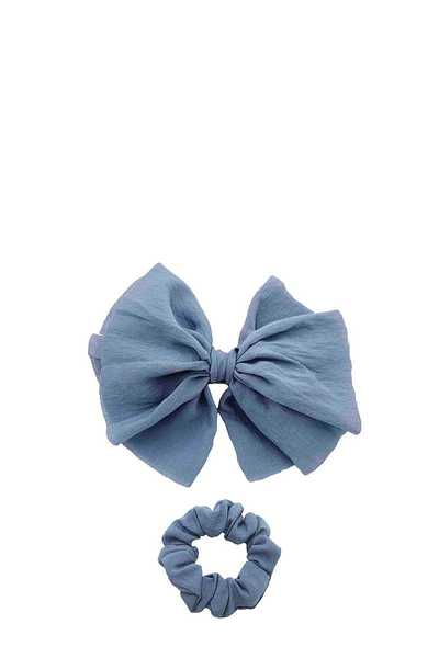 SOLID BOW BARRETTE AND SCRUNCHIE SET
