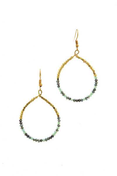 CHIC FASHION BEADED HOOP DROP EARRING