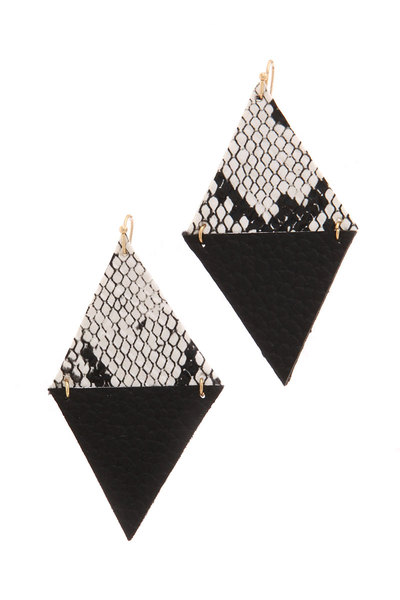 TWO TONE RHOMBUS SHAPE DROP EARRING