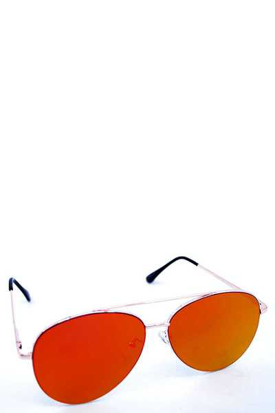 RETRO AVIATOR SUNGLASSES WITH REFLEXION LENS