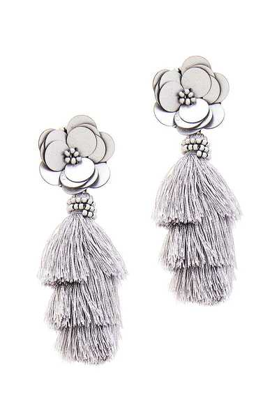 FASHION FLOWER TASSEL DROP EARRING
