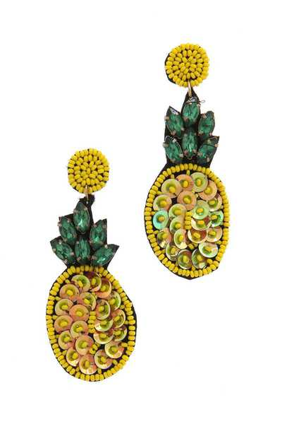 SEQUIN RHINESTONE PINEAPPLE POST DROP EARRING