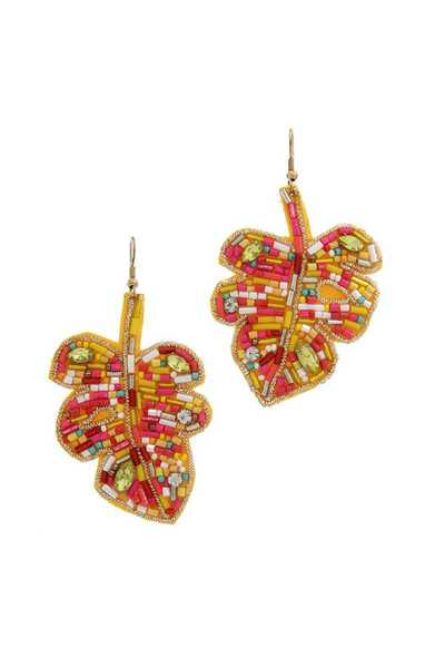 BEADED LEAF SHAPE DROP EARRING