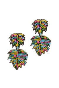 LEAF SHAPE BEADED POST DROP EARRING