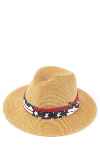 CC FEDORA HAT WITH AMERICAN FLAG PRINTED TRIM BAND