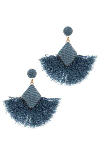 DENIM TASSEL POST DROP EARRING