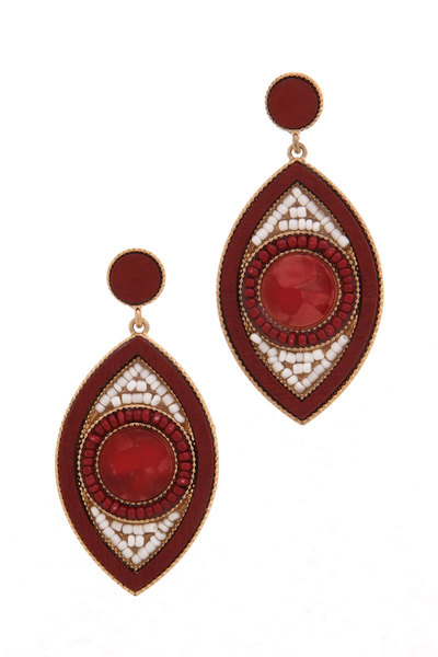 POINTED OVAL BEADED POST DROP EARRING