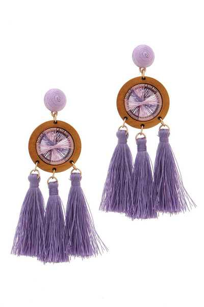 ROUND WOOD TASSEL POST DROP EARRING