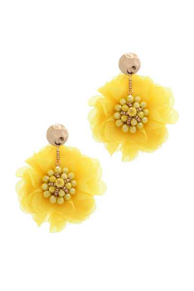 TULLE FLOWER BEADED POST EARRING