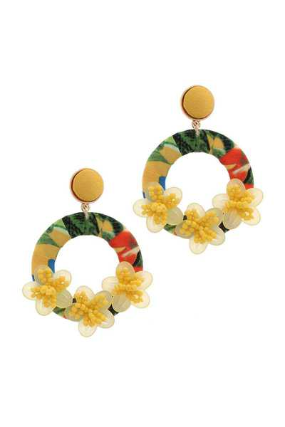 CIRCLE FLORAL POST DROP EARRING