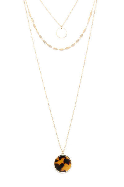 ACETATE CIRCLE LAYERED NECKLACE