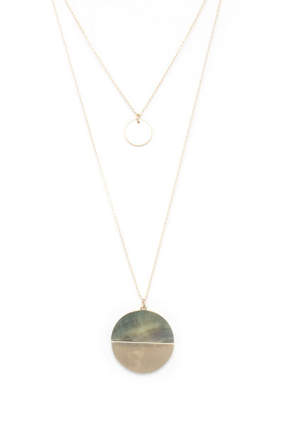 HALF MOTHER OF PEARL HLAF METAL LAYERED NECKLACE