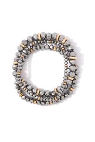 METALLIC BEAD STRETCH BRACELET SET