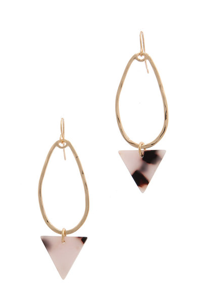ACETATE TRIANGLE HAMMERED OVAL SHAPE DROP EARRING