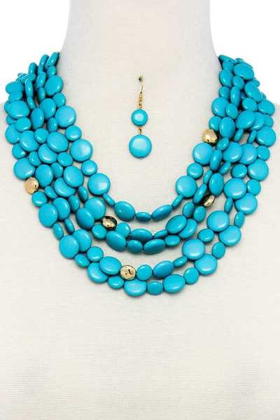 CHIC MULTI FLAT BEAD NECKLACE AND EARRING SET