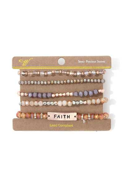 """FAITH"" BEADED STRETCH BRACELET SET"