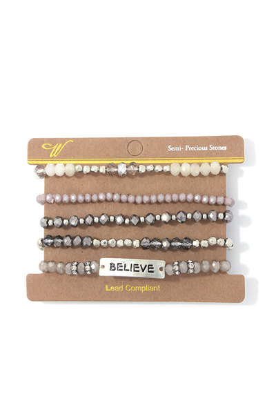 """BELIEVE"" BEADED STRETCH BRACELET SET"