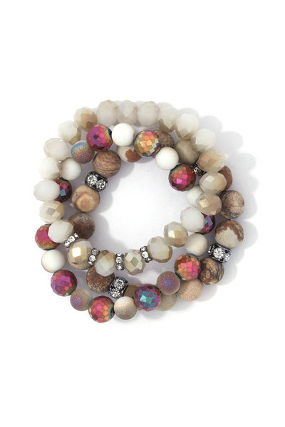 TEXTURED BEADED STRETCH BRACELET SET