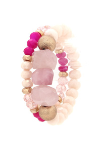 SEMI PRECOUS STONES BEADED STRECH BRACELET SET