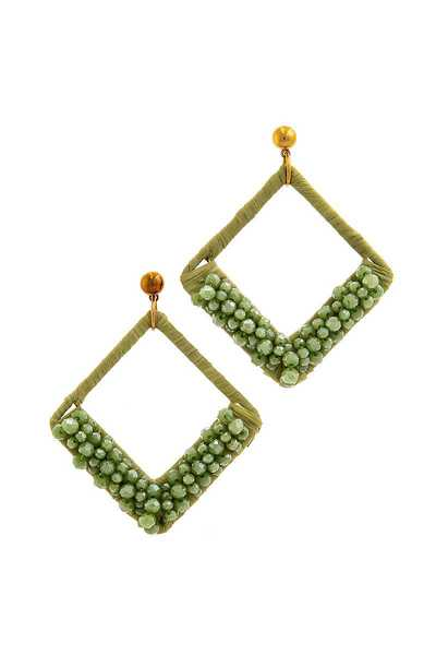 CHIC BEAD ACCENT SQUARE DROP EARRING