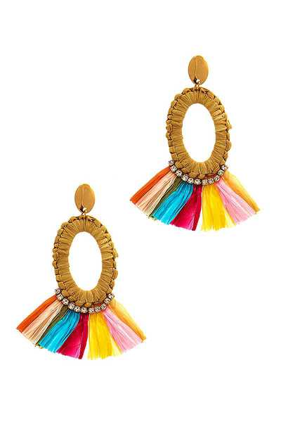 CHIC FASHION FAN TASSEL OVAL DROP EARRING