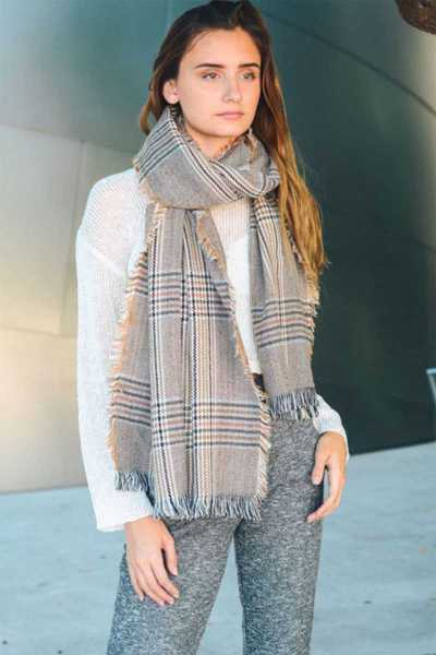 CLASSIC GLEN CHECK FRAYED TRIM SCARF