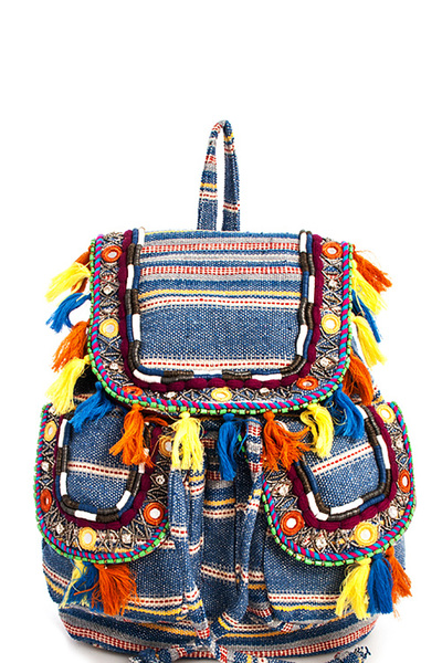 Fashion Hot Trendy Bohemian Stripe Backpack