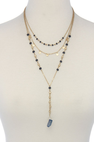 NATURAL STONE BEADED MULTI LAYERED NECK