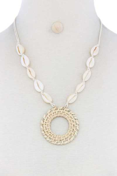 WOVEN CIRCLE COWRIE SHELL NECKLACE