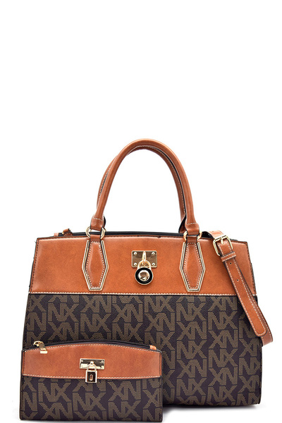 Noble Exchange Classic Signature Multi Compartment Satchel With Matching Wallet