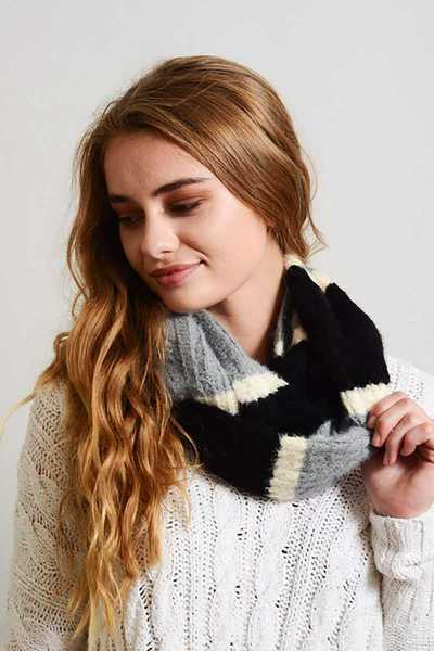 ULTRA SOFT MOHAIR WIDE STRIPE INFINITY SCARF