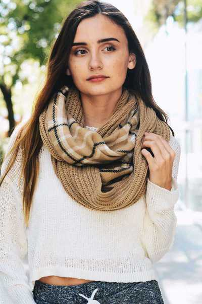 PLAID RIBBED KNIT INFINITY SCARF