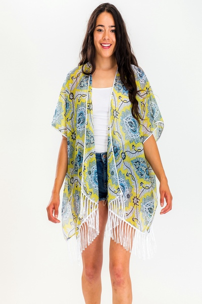 Unique Pattern Print With Detailed Tassel Kimono