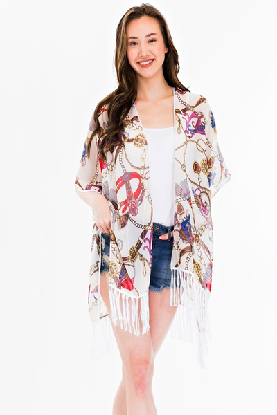 Chain Belt Print With Detailed Tassel Kimono