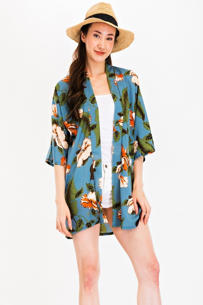 Tropical Flower And Leaf Print Kimono