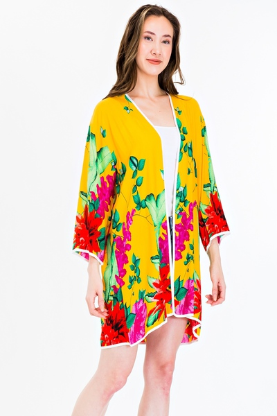 Tropical Floral and Leaf Pattern Kimono