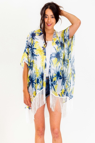Tropical Tree Print With Detailed Tassel Kimono