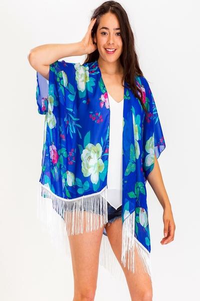 Floral Print With Detailed Tassel Kimono