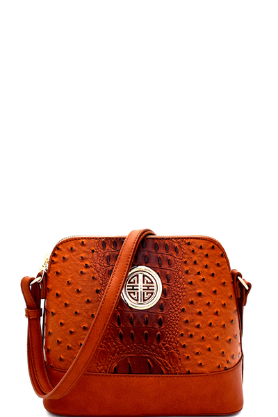 Ostrich Embossed Emblem Dome-Shaped Cross Body