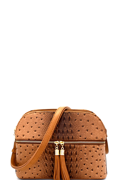 Ostrich Embossed Multi-Compartment Cross Body