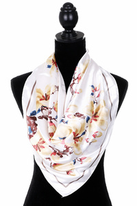 Super Soft Silk Feel Flower Printed Square Fashion Scarf 100% Polyester