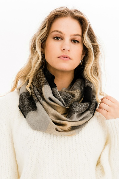 FASHION PLAID INFINITY SCARF