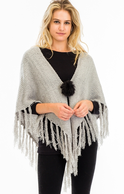 Triangle Shape Shawl with Fur-Pin