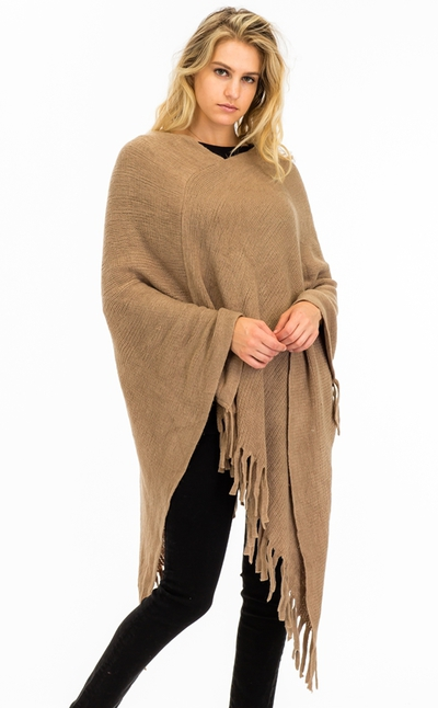 Long Poncho with Fringe Accent