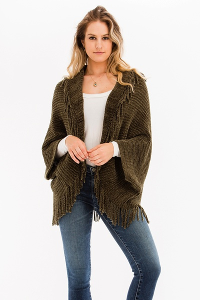 TRENDY FRINGED PONCHO