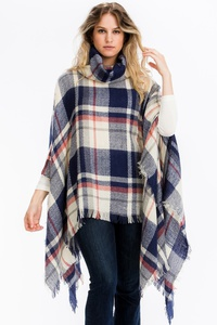 CHIC PLAID FRINGED PONCHO